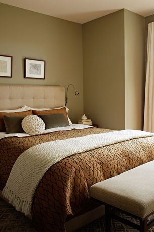 Contemporary Guest Bedroom with Humble + haute hampton beige queen-size diamond tufted headboard, Carpet