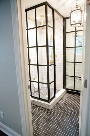 Contemporary 3/4 Bathroom with Weston square pendant, White subway tile, Mosaic tile patterns basketweave mosaic