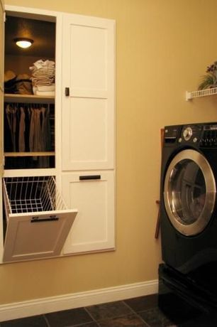 Traditional Laundry Room with High ceiling, Knape & Vogt Tilt Out Wire Hamper, onyx tile floors