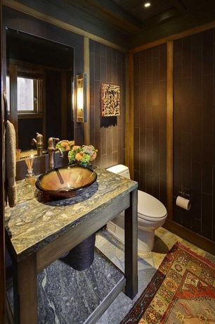Craftsman Powder Room with Powder room, Heath ceramics - classic field tile, Kraus GV-684-G Copper Pluto Glass Vessel Sink