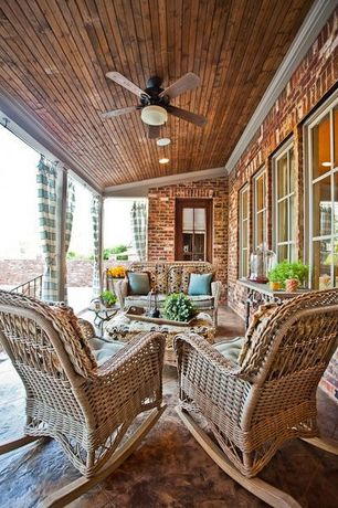 Traditional Porch with Exposed wood ceiling, Paint, Casement, Pier 1 coco cove rocker, Ceiling fan, Pier 1 coco cove settee