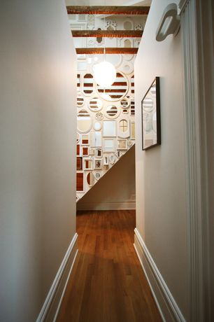 Contemporary Hallway with Exposed beam, Hardwood floors, High ceiling, Pendant light