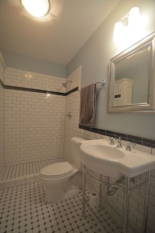 Traditional 3/4 Bathroom with EliteTile Retro Glazed Porcelain Octagon Mosaic in Matte White & Glossy Black, Console sink