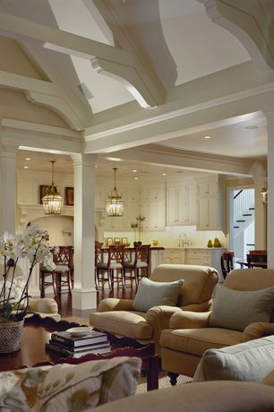 Traditional Living Room with High ceiling, Columns, Windsor Collection Vintage Bronze Pendant Light, Pendant light