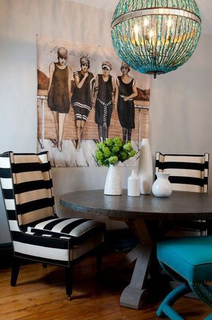 Contemporary Dining Room with Hardwood floors, Restoration hardware salvaged wood x-base round dining table