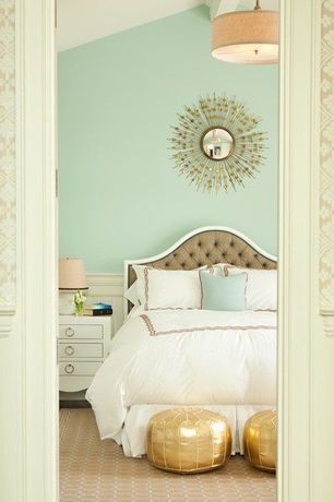 Contemporary Master Bedroom with Moroccan pouf, gold, Restoration hardware - round shade pendant, Paint