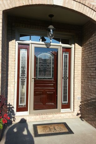 Traditional Front Door with Custom glass sidelights, Brick exterior, Home depot: hampton bay black light