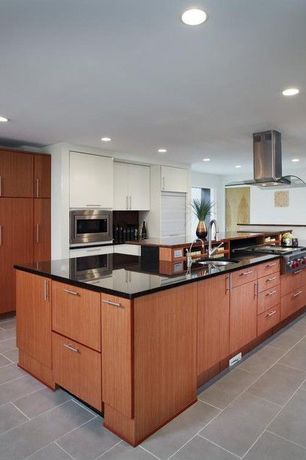 Contemporary Kitchen with Undermount sink, Wood counters, Soapstone counters, Kitchen island, One-wall, Flush