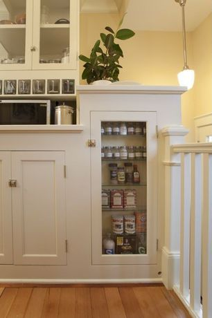 Country Kitchen with Glass panel, Shades of light schoolhouse pendant, Paint, Dura Supreme Cabinetry Breckenridge Panel