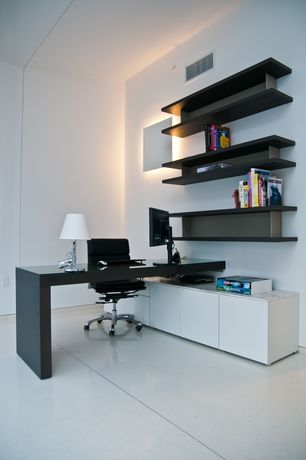 Contemporary Home Office with Ikea Orrberg Display Shelf, In Mod Glare Sideboard, Eames aluminum management chair
