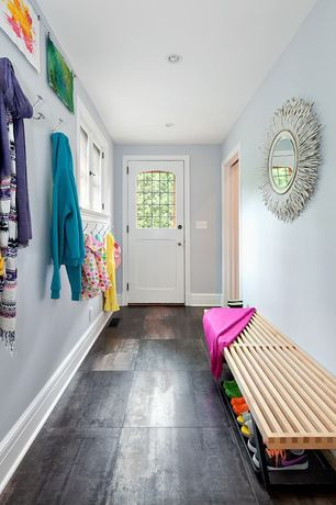 Contemporary Entryway with Silver sunburst wall mirror, Paint, Nelson platform bench, 4' wood slat bench