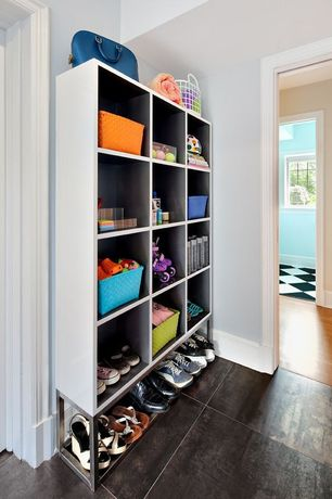 Contemporary Mud Room with Built-in bookshelf, Land of nod strapping shelf basket, Armstrong black and white vinyl floor tile