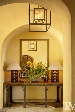Eclectic Hallway with Bellacor Troy Morgan Deep Bronze Four-Light Pendant, kaelber Beaded Gold Mirror