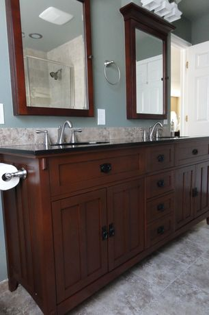Craftsman Master Bathroom with James martin double bathroom vanity, Flat panel cabinets, terracotta tile floors, Double sink