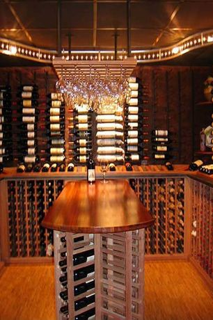 Traditional Wine Cellar with Laminate floors, Built-in bookshelf