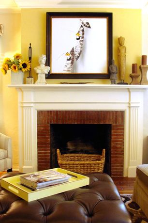Traditional Living Room with Amanti art veneto distressed square wall mirror, Fireplace mantel, brick fireplace, Paint