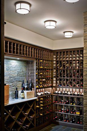 Contemporary Wine Cellar with Riedel Vinum Chardonnay 8 Piece Set, Custom wine storage