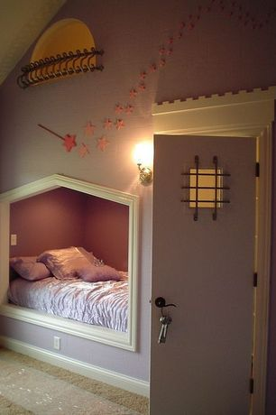 Eclectic Kids Bedroom with Integrated play area, Wall sconce, Custom built bed, Carpet, Paint, Wooden magic fairy wand