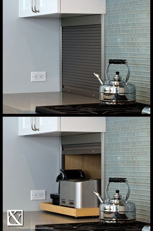 Cottage Kitchen with Vertical lift cabinet door appliance garage, Corian-Solid Surface Countertop in Natural Gray