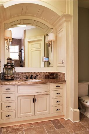 Traditional Full Bathroom with double-hung window, Floor & decor - dalmation noce walnut honed travertine tile, no showerdoor