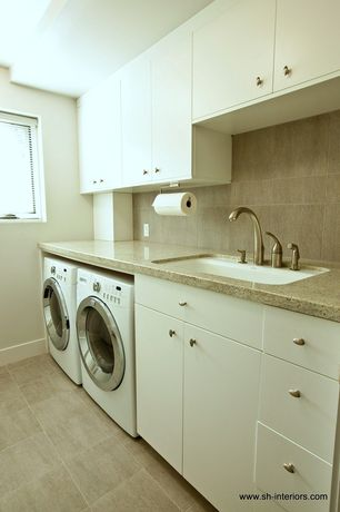 Contemporary Laundry Room with Concrete tile , Built-in bookshelf, SenSa Tanami Granite Kitchen Countertop