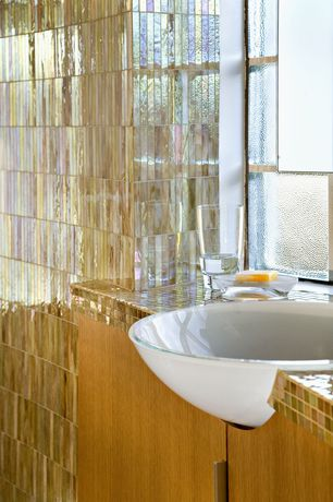 Contemporary Master Bathroom with Daltile Glass Horizons Reed Linear Tile, Dura Supreme Cabinetry Moda - Vertical Panel