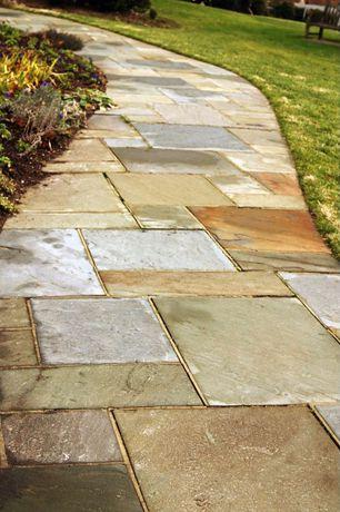 Contemporary Patio with exterior stone floors, Pathway