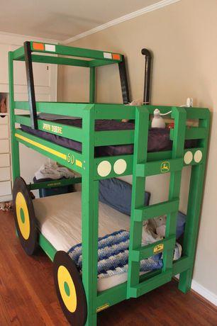 Eclectic Kids Bedroom with Hardwood floors, John Deere Tractor Bed: DIY Home Project, Bunk beds, Crown molding