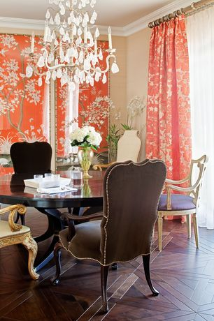 Traditional Dining Room with Hardwood floors, Crystorama 2724-OB-CL-MWP Oxford Crystal Chandelier, Crown molding, Chandelier