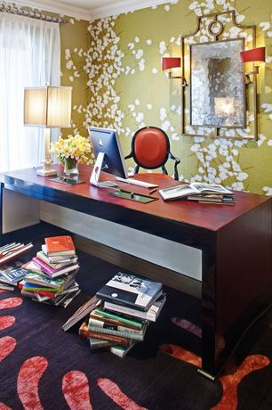 Contemporary Home Office with specialty window, interior wallpaper, Hardwood floors, Standard height, Crown molding