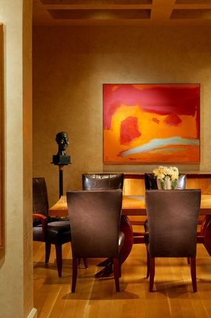 Contemporary Dining Room with Box ceiling, Laminate floors