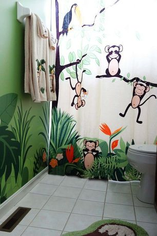 Tropical Kids Bathroom with Paint 1, Standard height, Ceramic floor and wall tile, Flat panel cabinets, stone tile floors