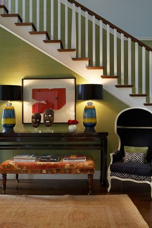 Contemporary Hallway with Ceramic lamps, Standard height, Paint 1, Area rug, Laminate floors, Wood banister, Side table