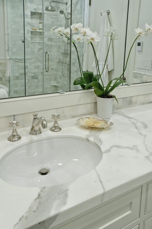 Contemporary Full Bathroom with DecoLav Classically Redefined Oval Undermount Bathroom Sink, Complex Marble, Rain shower