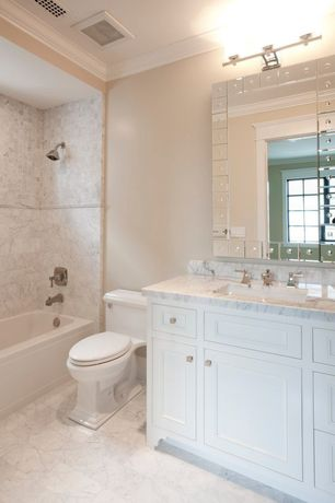 Traditional Full Bathroom with Inset cabinets, Complex marble counters, Complex Marble, Flat panel cabinets, Undermount sink