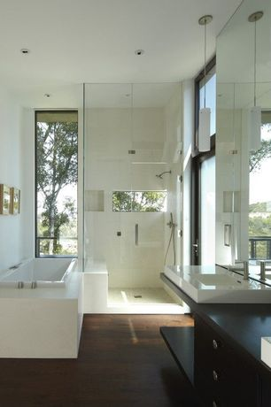 Contemporary Master Bathroom with Afx 1 light pendant, Bathtub, Wood counters, Shower, frameless showerdoor, drop in bathtub