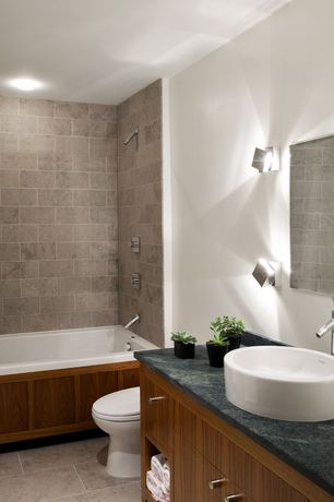Contemporary Full Bathroom with Stone source, bastille gray, 	limestone, gray, High ceiling, Flush, tiled wall showerbath