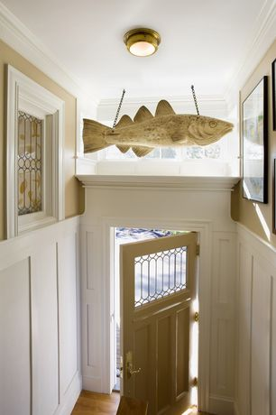 Traditional Entryway with picture window, High ceiling, flush light, Crown molding, Laminate floors, Glass panel door