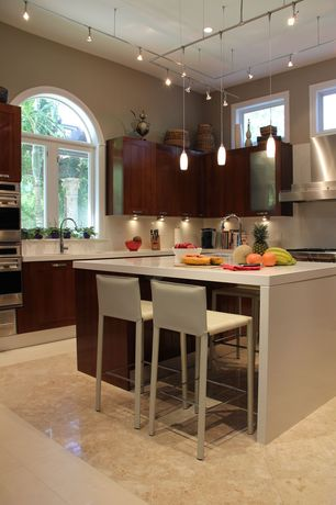 "Contemporary Kitchen with Progress lighting illuma-flex 1 light tulip mini pendant, Tfg elston 30"" bar stool with cushion"