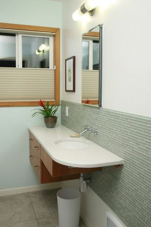 Contemporary Full Bathroom with Subway Tile, Emser lucente glass blends, Limestone counters, Powder room, European Cabinets