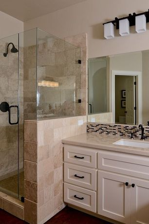 Craftsman Full Bathroom with Quartz counters, Travertine Tile, Ceramic Tile, Dupont corian bisque, Shaker style cabinets