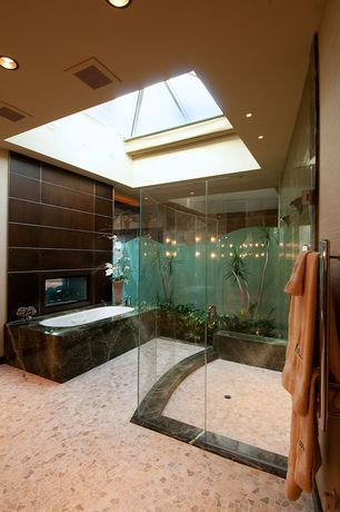 Contemporary Master Bathroom with Pental Porcelain - Corten, frameless showerdoor, slate floors, Skylight, Master bathroom