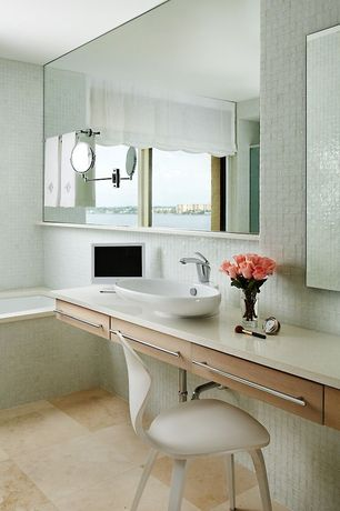 Contemporary Master Bathroom with European Cabinets, Complex granite counters, Master bathroom, Vessel sink, Flush