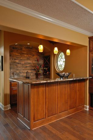 Traditional Bar with Built-in bookshelf, Savory house- mini pendant light, Pendant light, Hardwood floors