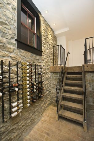Rustic Wine Cellar with Vintageview 12 bottle wall mounted wine rack in black satin finish