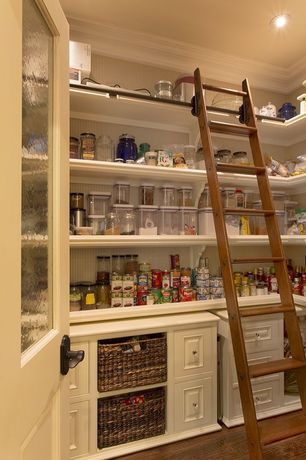 Traditional Pantry with Paint 1, Boston library ladder, Madras rectangular baskets