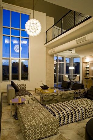 Contemporary Great Room with Chandelier, Loft, Pendant light, simple marble tile floors, Cathedral ceiling, flush light
