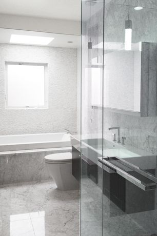 Modern Full Bathroom with Flush, Wall mounted sink, Undermount sink, European Cabinets, Master bathroom, Pendant light