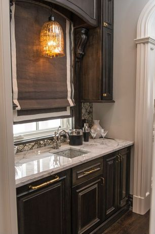 Traditional Bar with Marble countertops, Vintage glass pendant light fixture, Mosaic undermounted sink, Paint 1