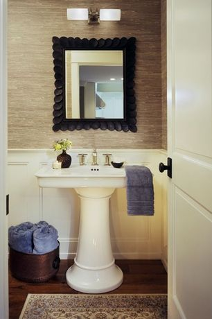 Traditional Powder Room with Powder room, specialty door, Wainscotting, Grass Cloth Wallpaper, Pedestal sink, Laminate floors